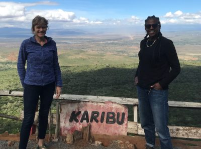 Grethe Petersen and Ebony Riddell Bamber from Orchid Project, overlooking the amazing Rift Valley, Kenya.