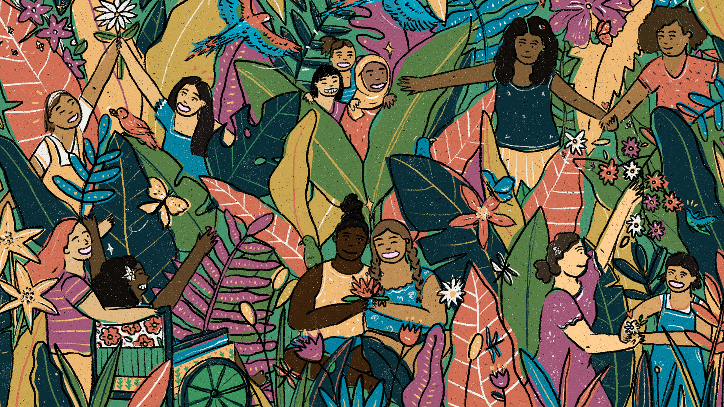 Orchid Project: Illustration of girls in an abstract jungle