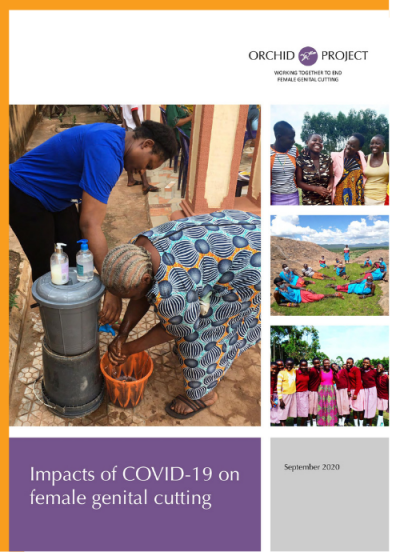 Impacts of COVID-19 on female genital cutting, Orchid Project policy briefing front cover, featuring grassroots activists and organisations from Kenya and Nigeria