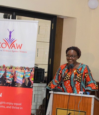 Wairimu Munyinyi-Wahome, speaking at an event for COVAW.